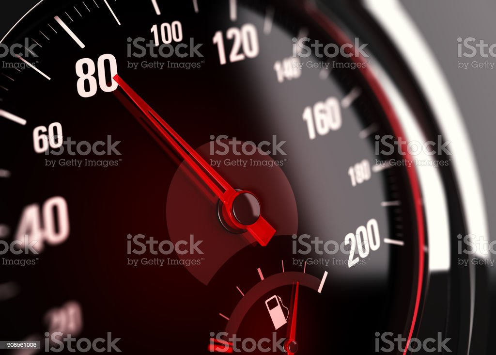 Speedometer, Speed Limit at 80 km per hour stock photo
