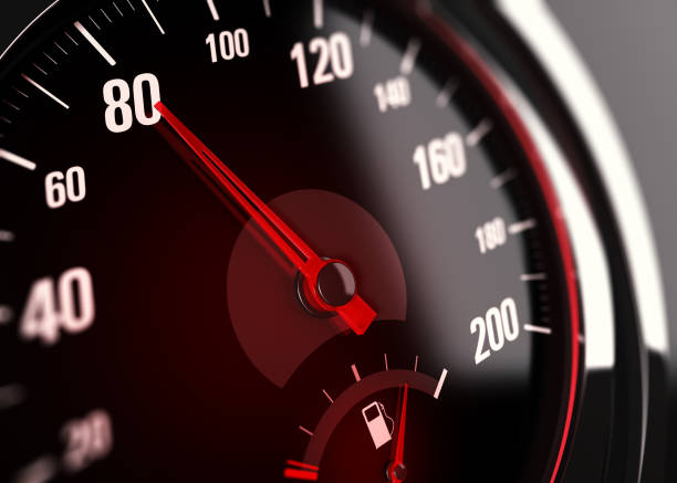 Speedometer, Speed Limit at 80 km per hour 3d illustration of a speedometer with needle pointing the number 80. speed stock pictures, royalty-free photos & images