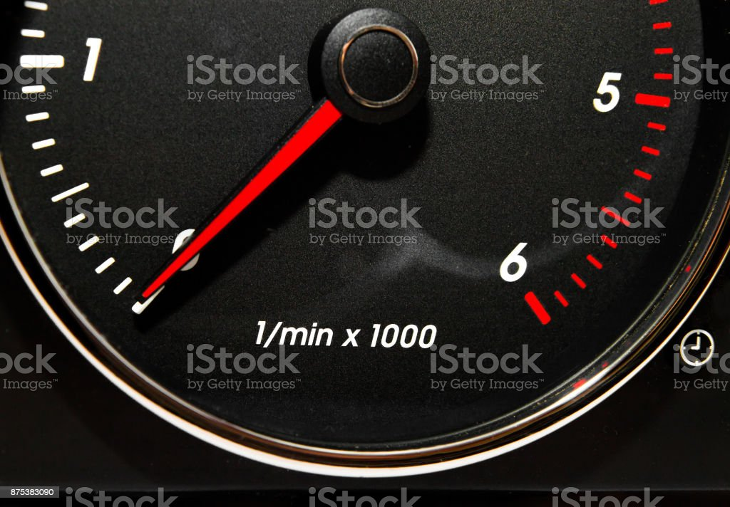 Speedometer, tachometer and fuel gauge set with chrome bezel stock photo