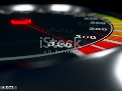 Speedometer with high level of speed, maximum boost value. Metallic body. 3D rendering.