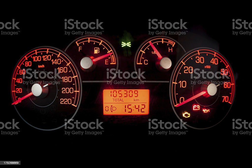 Speedometer with Red Dashboard royalty-free stock photo