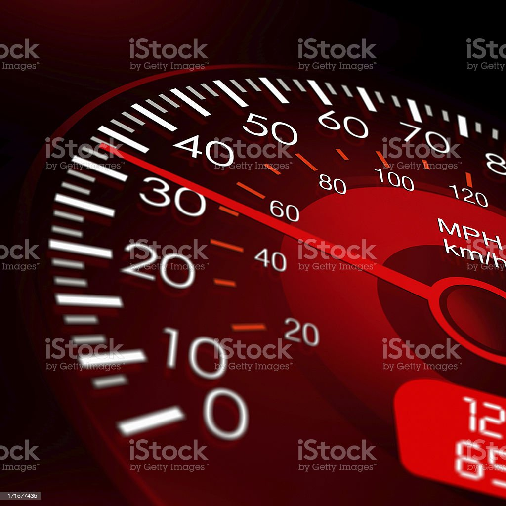 Speedometer with Red Dashboard-Vehicle Speed Meter royalty-free stock photo