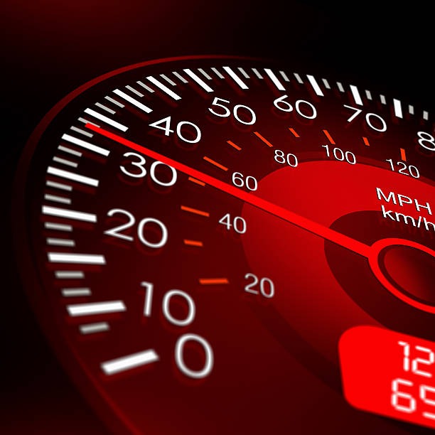 Speedometer with Red Dashboard-Vehicle Speed Meter stock photo