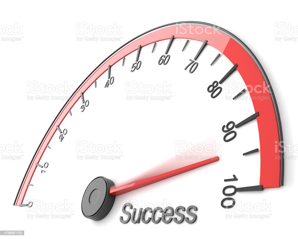 Speedometer with success word stock photo