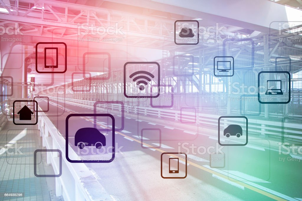 speedway and wireless communication network, internet of things, smart transportation, abstract image visual stock photo