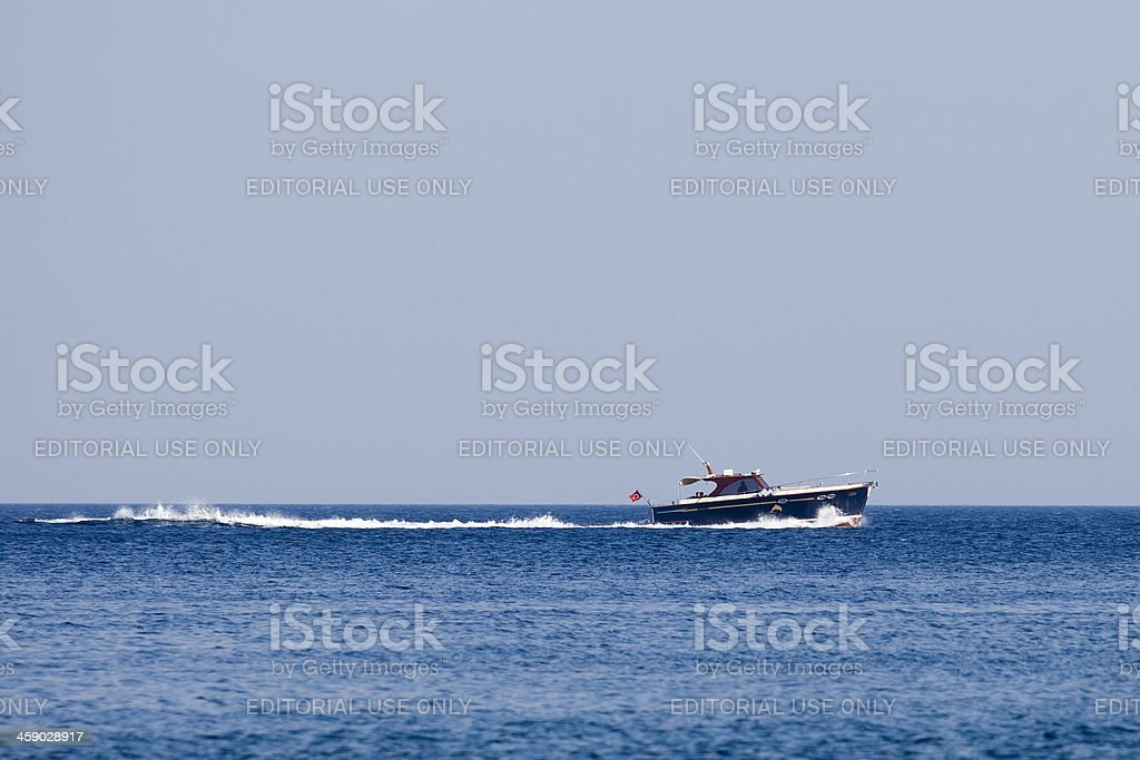 Speedy boat going to target. royalty-free stock photo