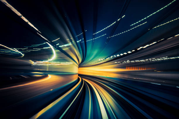 speedy train, blurred motion - vitality stock photos and pictures