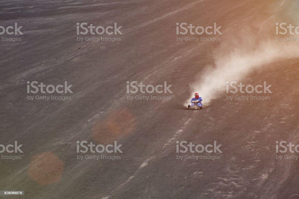Speedy volcano ride stock photo