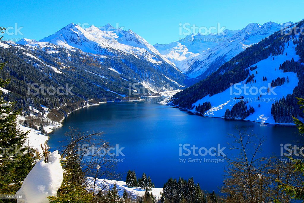 Speicher Durlassboden: alpine lake landscape in Tirol / Zillertal, Austria stock photo