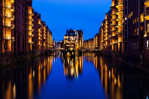 Speicherstadt district, Hamburg, Germany.