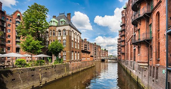 Speicherstadt warehouse district in Hamburg, Germany