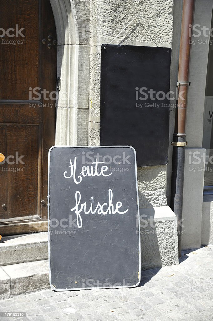 Speisekarte - Tafel heute frische stock photo