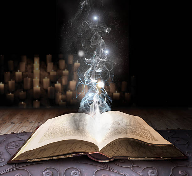 spell book - fairy wand stock photos and pictures