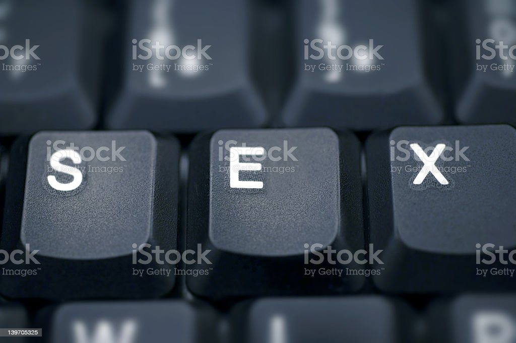 SEX.... spelled in keys on a laptop royalty-free stock photo