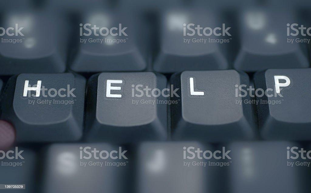 HELP - Spelled in keys on a laptop stock photo