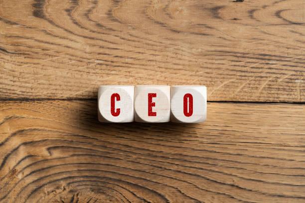 CEO in Rot auf drei Holzblöcken geschrieben – Foto