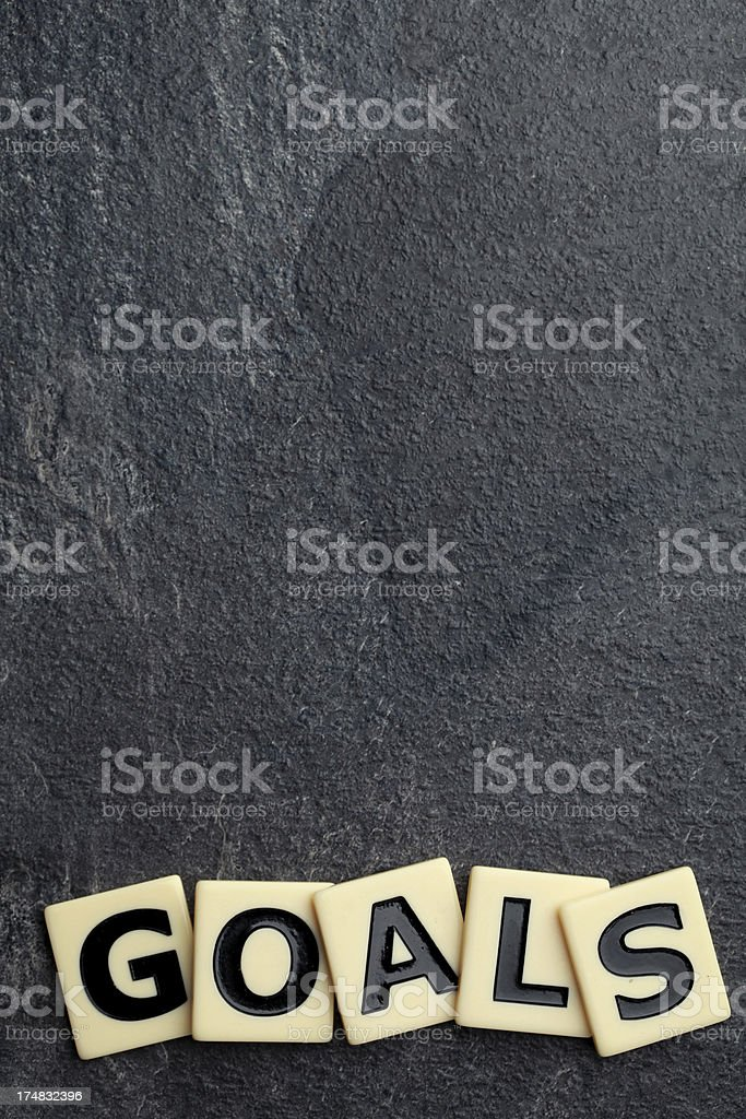 'GOALS' spelled out with tiled letters royalty-free stock photo