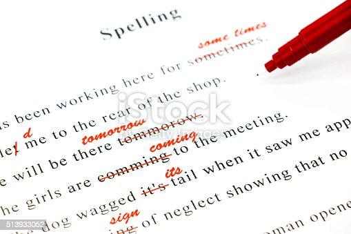 istock spelling check on English sentences 513933052