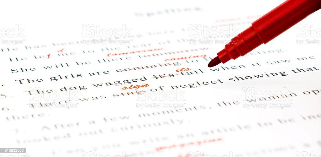 spelling check on English sentences stock photo