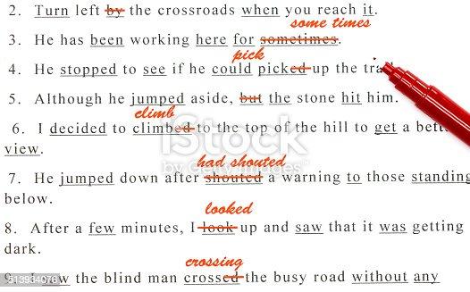 istock spelling check on English sentences 513934076