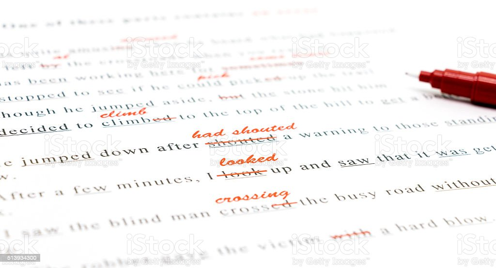 spelling check on English sentences stock photo