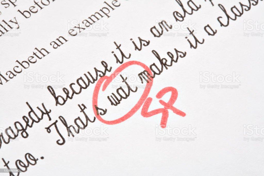 Spelling Correction on Exam royalty-free stock photo