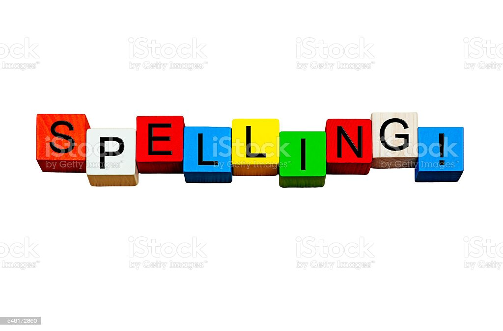 Spelling - education series, word design / sign - isolated. stock photo