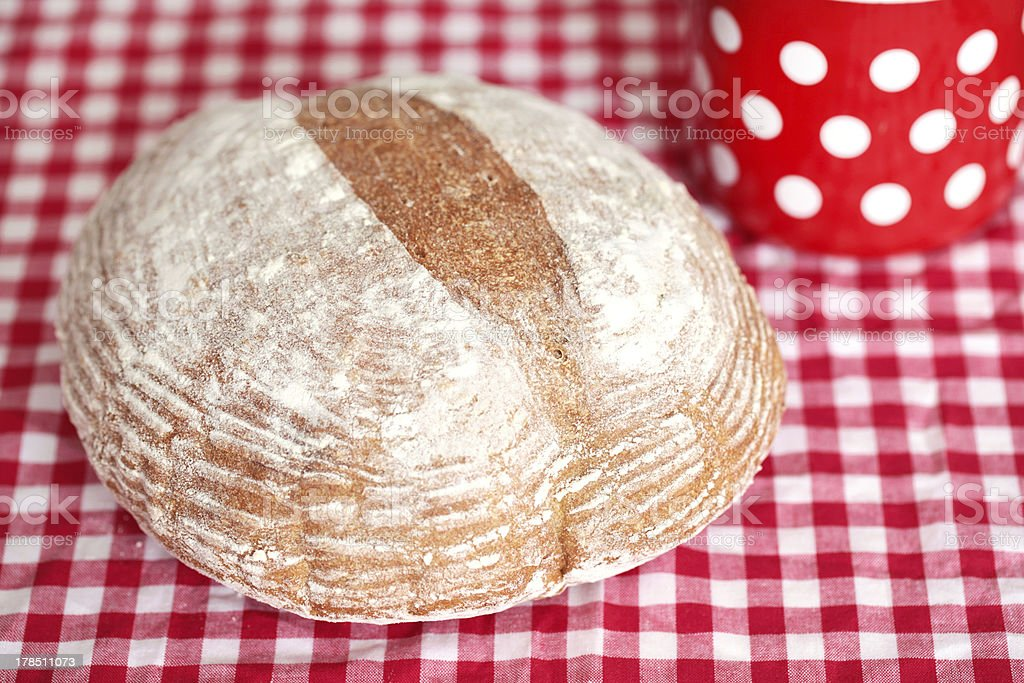 Spelt flour bread loaf, homemade and rustic royalty-free stock photo