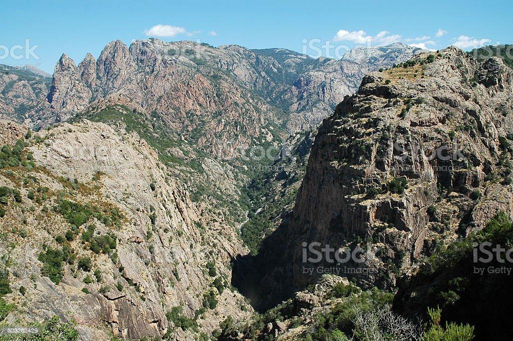 Spelunca gorge, deep valley in Corsica stock photo