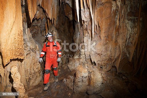 Caving in Acederal Cave, Zaragoza Province, Aragon, Spain.