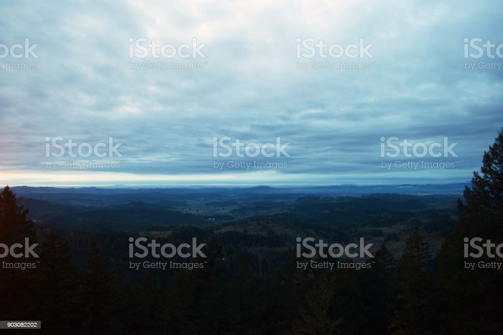 Spencer Butte at Night stock photo