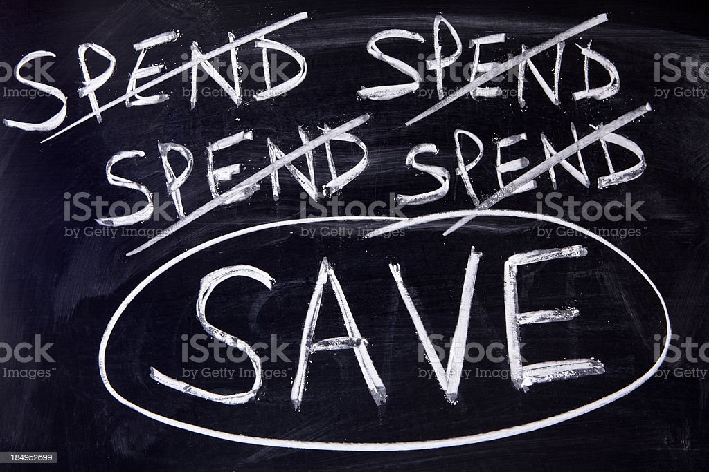 Spend and save message royalty-free stock photo