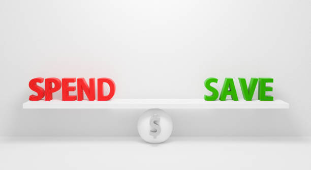 spend or save isolated on white background. conceptual business concept. 3d render design for banner on website. symbolize gray sphere ball between spending or saving money in balance. finance design. - spending money stock pictures, royalty-free photos & images