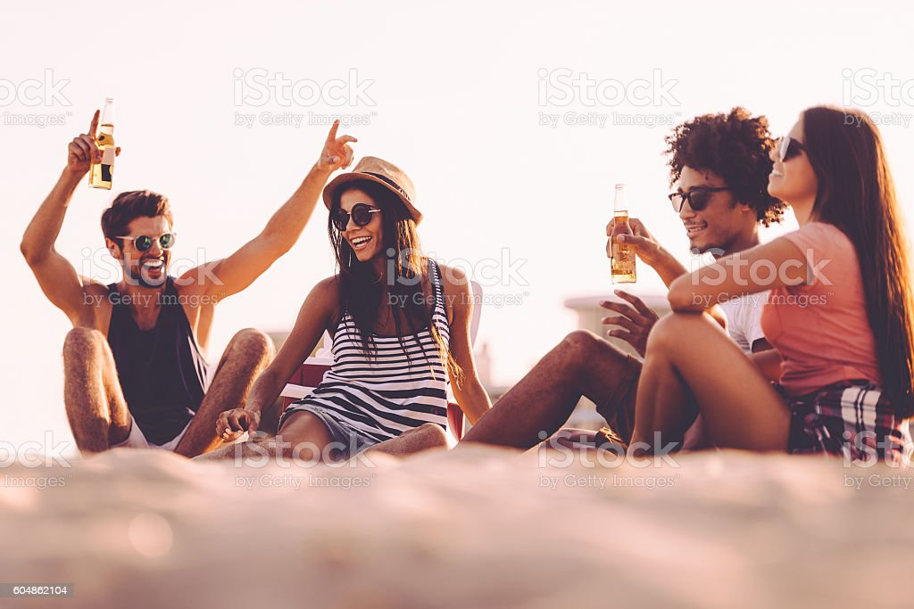 Spending carefree time with friends. stock photo