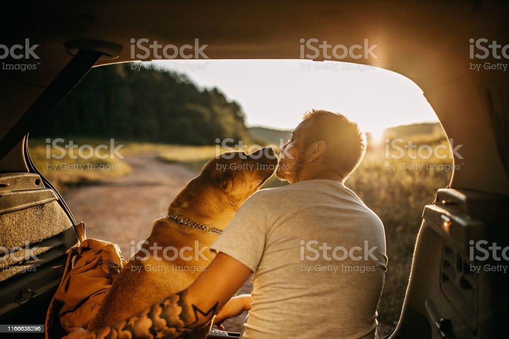 Passer la journée avec le chien dans la nature - Photo de Activité de loisirs libre de droits