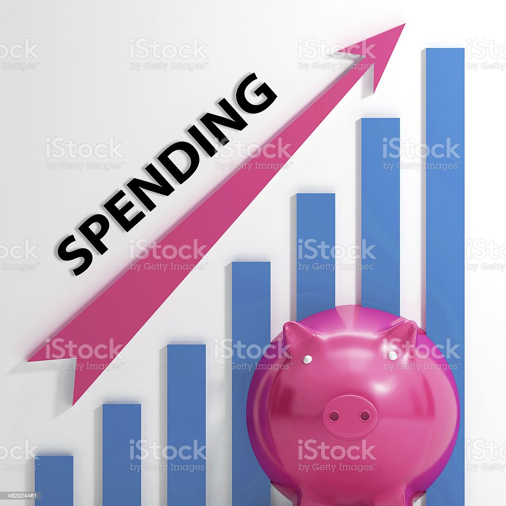 Spending Graph Means Costs Expenses And Outlay stock photo