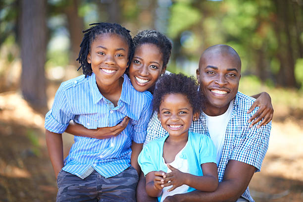 Spending quality family time outdoors stock photo