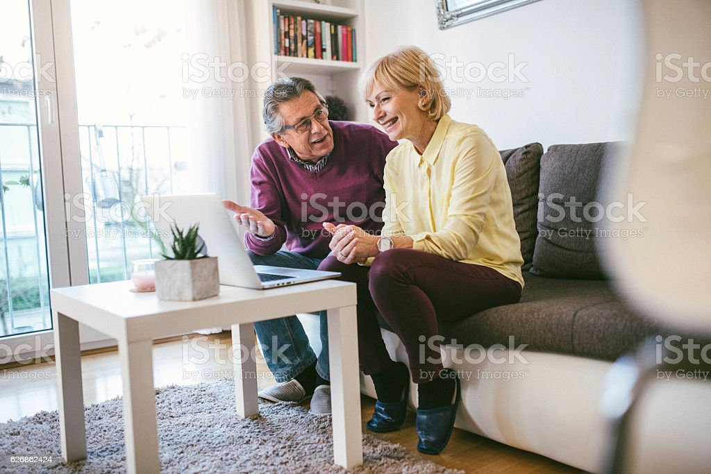 Spending some online time together stock photo