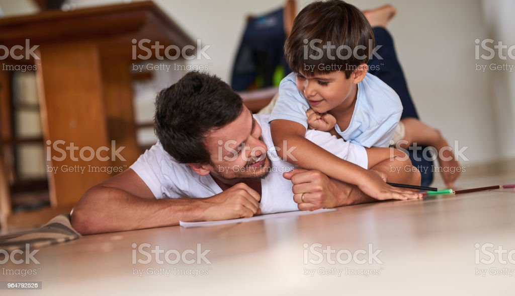 Spending some quality time with his son royalty-free stock photo