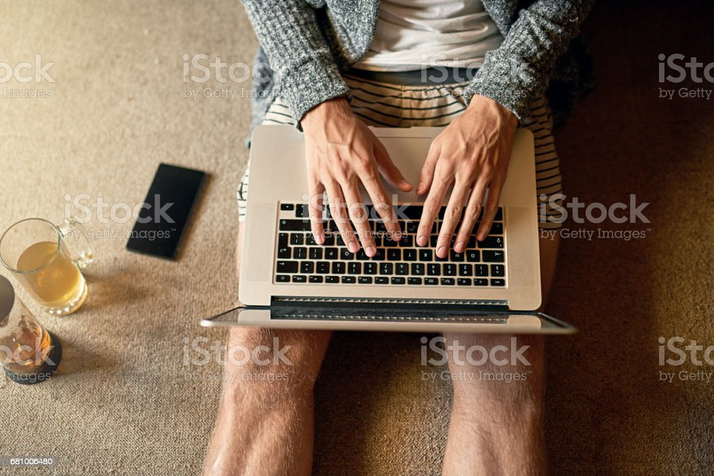 Spending some spare time online royalty-free stock photo