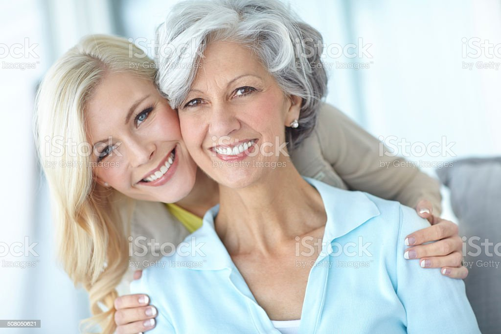 Spending some time with Mom stock photo
