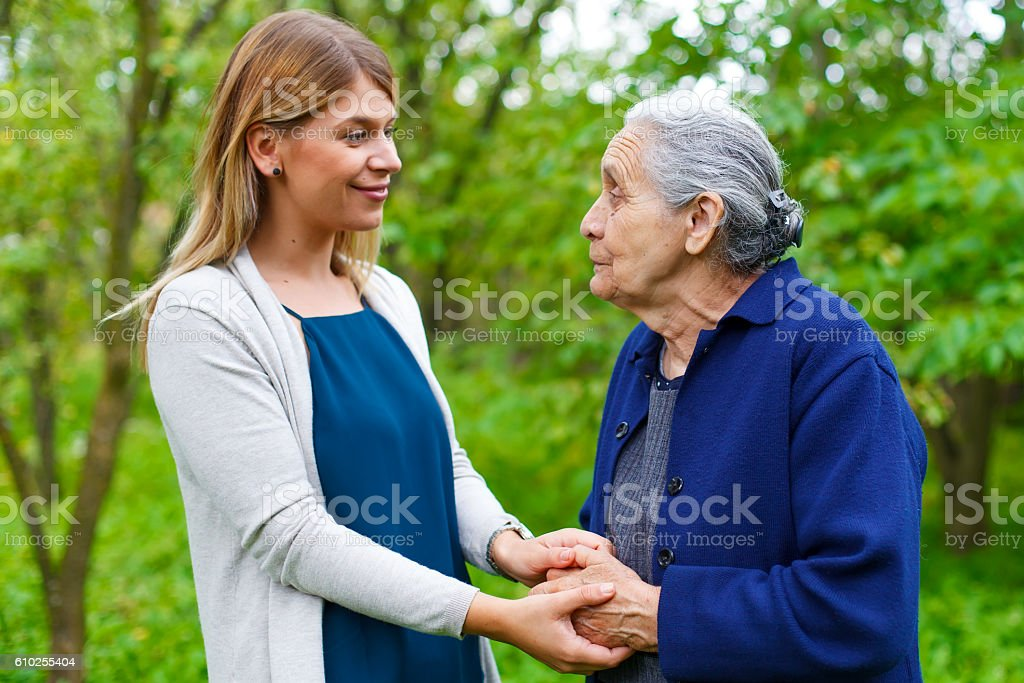 Spending time with grandma stock photo