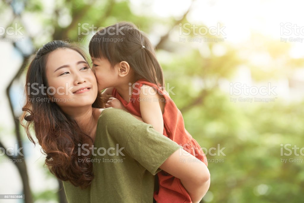 Spending time with mother stock photo