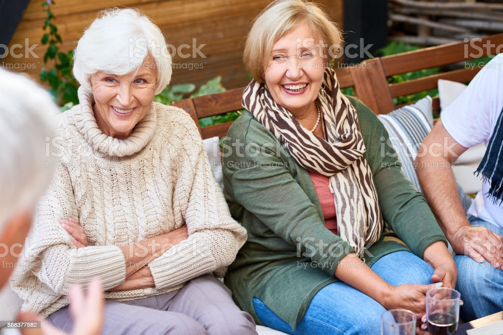 Spending Weekend with Senior Friends royalty-free stock photo