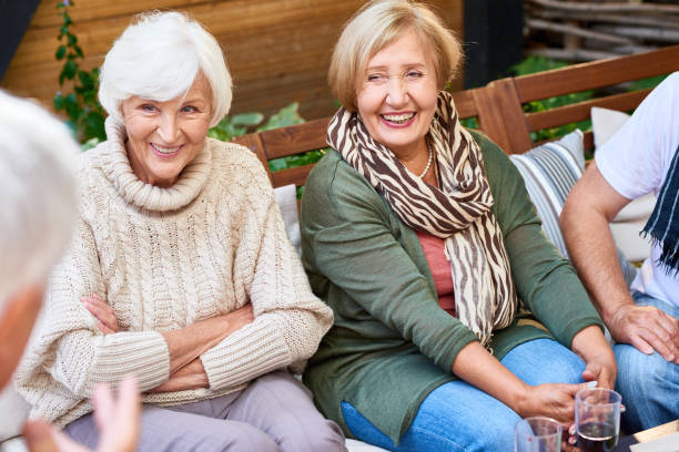 spending weekend with senior friends - elderly group stock photos and pictures