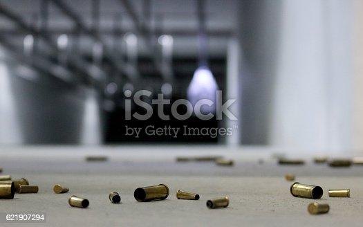istock Spent Bullet Casings on the floor 621907294