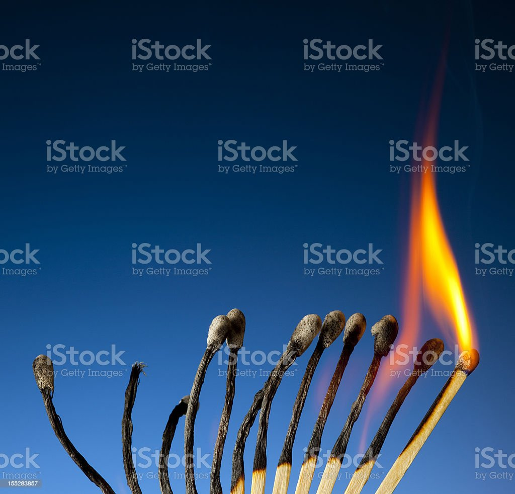 Spent Matches; Time And Energy Running Out stock photo