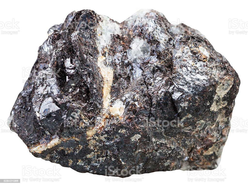 sphalerite (zinc blende) rock isolated stock photo