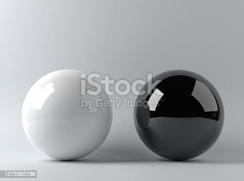 Sphere black and white 3d render