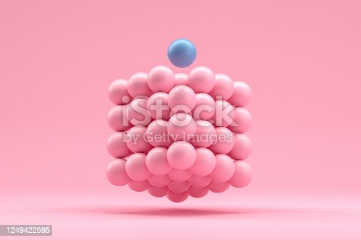 3D Rendering of Sphere Blocks in cube shape, in a row, education, architecture, backgrounds.